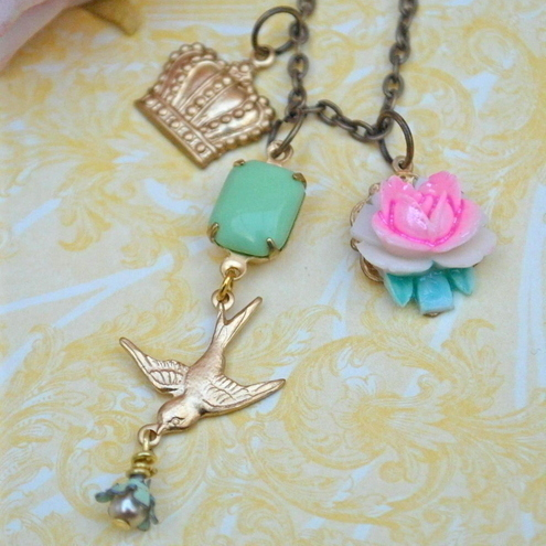 Swallow & Charm Necklace