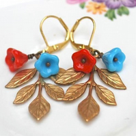 LEAFY Turquiose and Red Bead Earring........