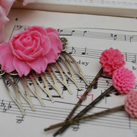 Rose Pink Rose Cabochon Hair Comb & Bobby Pins Set........