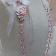 Soft Pink Crystal & Rose Necklace