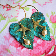 Verdigris Ivy  Leaf & Swallow Earrings