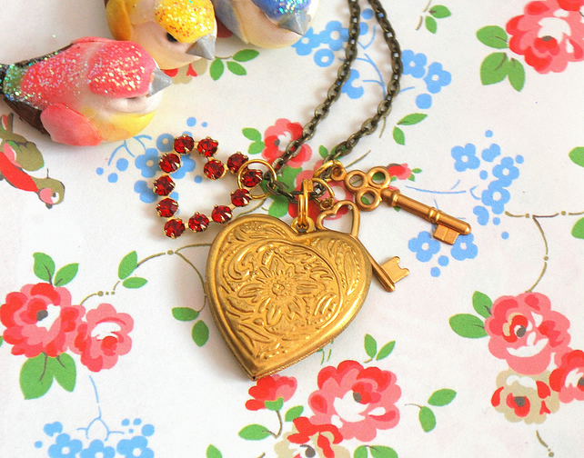 Heart Locket &  Key Necklace