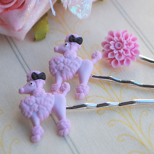 Cute Pink Poodle & Flower Bobby Pins Set of 3............