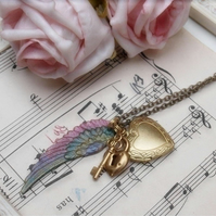 Angel Wing Heart & Keys
