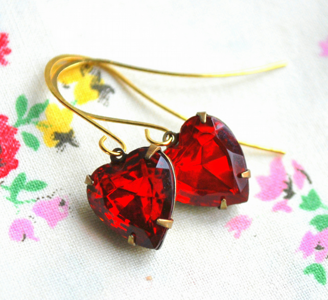 o0o Ruby  Red Heart  Earrings o0o
