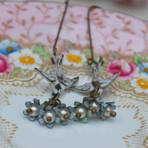 Little Bird & Enamel Flower Earrings