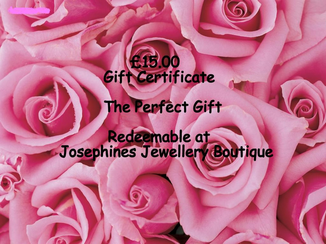 Gift Certificate 15.00 Redeemable at Josephines