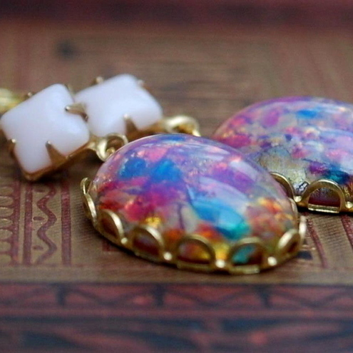 Harlequin Fire Opal Earrings......