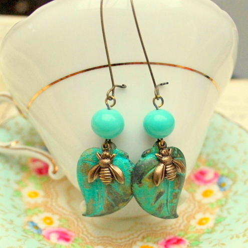 Verdigris Leaf & Bee Earrings