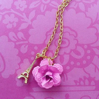Pink Rose and Eiffel Tower Necklace.......
