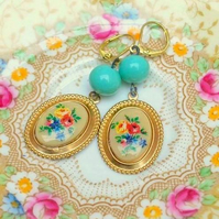Vintage Cameo & Glass Bead Earrings