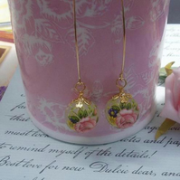 Jemimas rose ...Tensha bead earrings