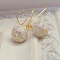 Ivory and Gold Inlay Earrings.....