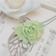 Gorgeous Green Rose Cabochon & Leaf Necklace