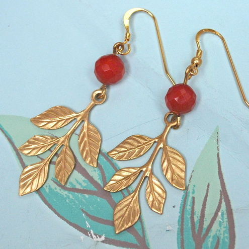 Brass Leafy Earrings....