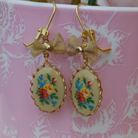 Cute little Bow & Vintage floral bouquet cameo Earrings