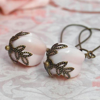 Soft Pink Glass Twisted Fluted Bead Earrings.......