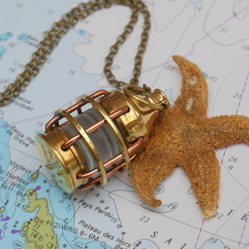 Nautical Brass Marine Lamp Necklace