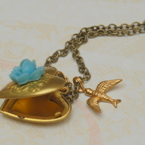Brass Heart Locket & Bird Necklace