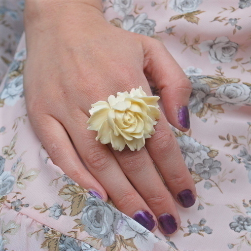 Ivory Rose Cabochon Ring