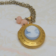 Brass Oval Locket with Wedgewood blue Cameo