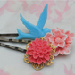 Gorgeous Swallow & Flower bobby pins set