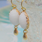 Vintage White Glass Cabochon Earrings