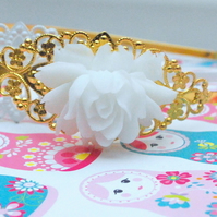Gorgeous White Cabbage Rose Filligree Headband