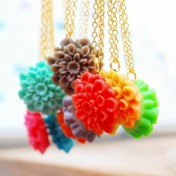 Bright Colorful Chrysanthemum Necklace You Choose Your Colors...