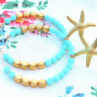 Starfish Beaded Large Gold Hoops