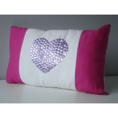 sequinned heart cushion