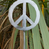 'peace'  polished metal plant support, 110cm approx.
