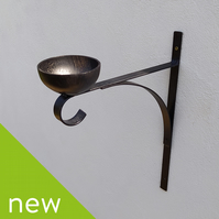 Hand made (wall or post) bracket with bird feeder bowl