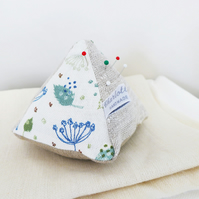 Blue Parsley Linen Pin Cushion