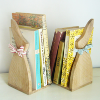 Pair of Handcrafted Oak Bunny Bookends