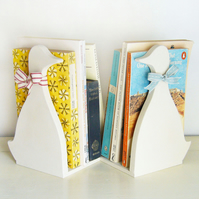 Pair Of Handcrafted Creamy Duck Bookends
