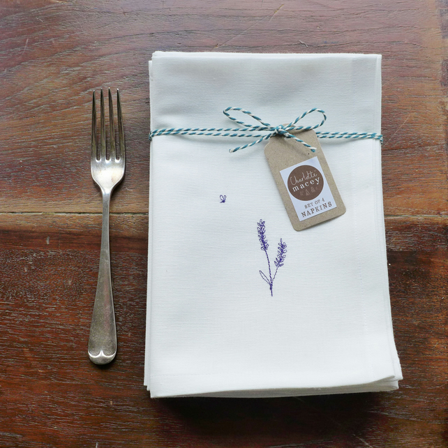 Embroidered Cotton Lavender Napkins - Set of 4