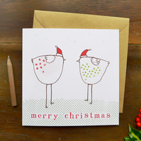 CARD - christmas chickens