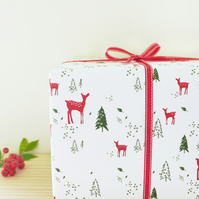 RECYCLED GIFT WRAP - pack of 2 reindeer