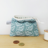 COIN PURSE - cow parsley, seagreen