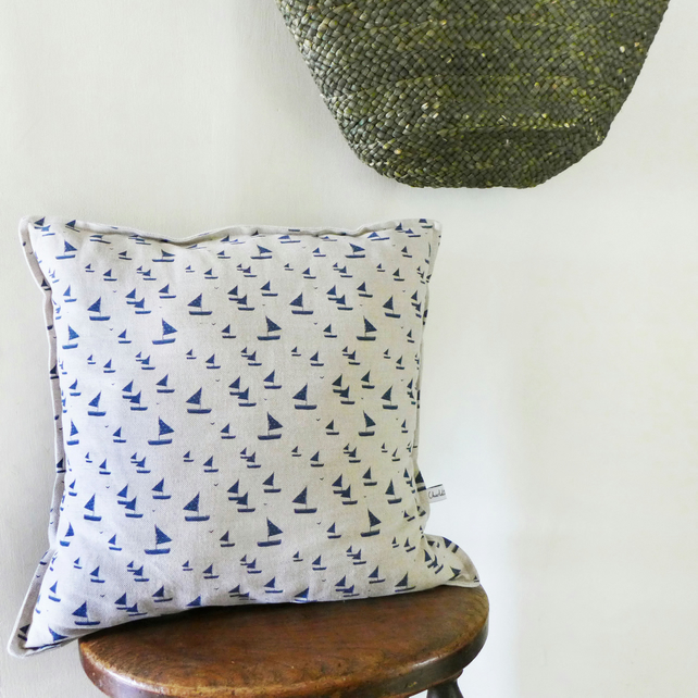 Large Navy Sailboats Linen Cushion
