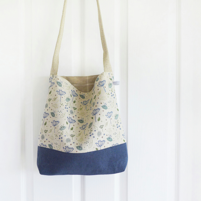 DAY BAG - natural blue parsley