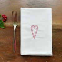 White Embroidered Scandi Heart Napkins - Set of 4