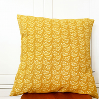 Large Mustard Cow Parsley Linen Cushion