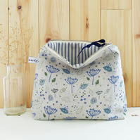 TALL POUCH - natural blue parsley