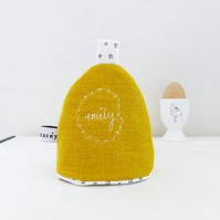 Personalised Mustard Linen Egg Cosy