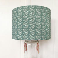 30cm ceiling pendant linen lampshade - cow parsley, seagreen