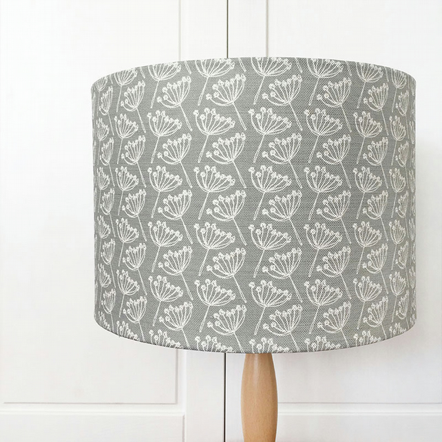 30cm ceiling pendant linen lampshade - cow parsley, dove grey