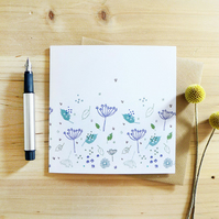 4 NOTECARDS - blue parsley