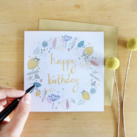 CARD - happy birthday wreath